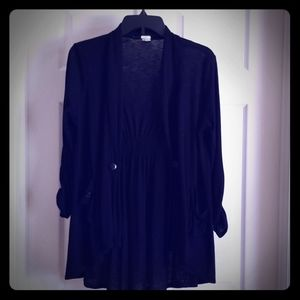 Black sweater cardigan with pockets
